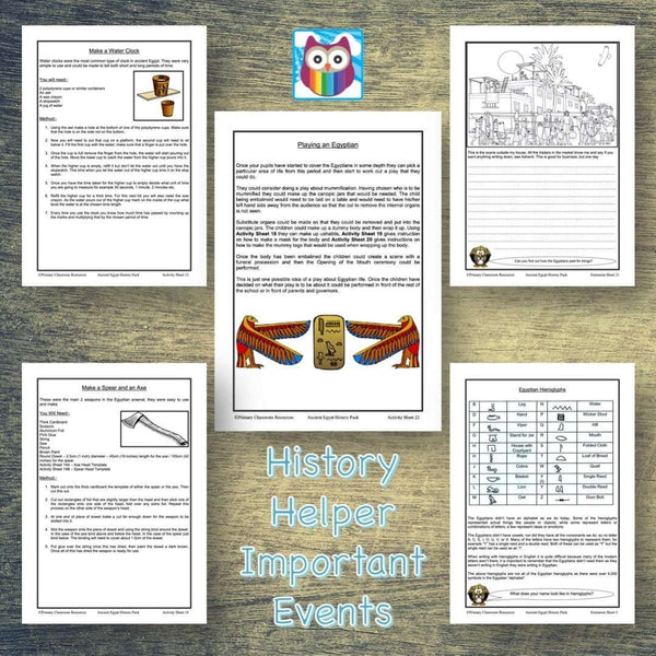 History Helper - Ancient Egypt - Important Events:Primary Classroom Resources