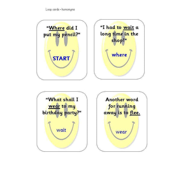 Homonyms Loop Cards:Primary Classroom Resources