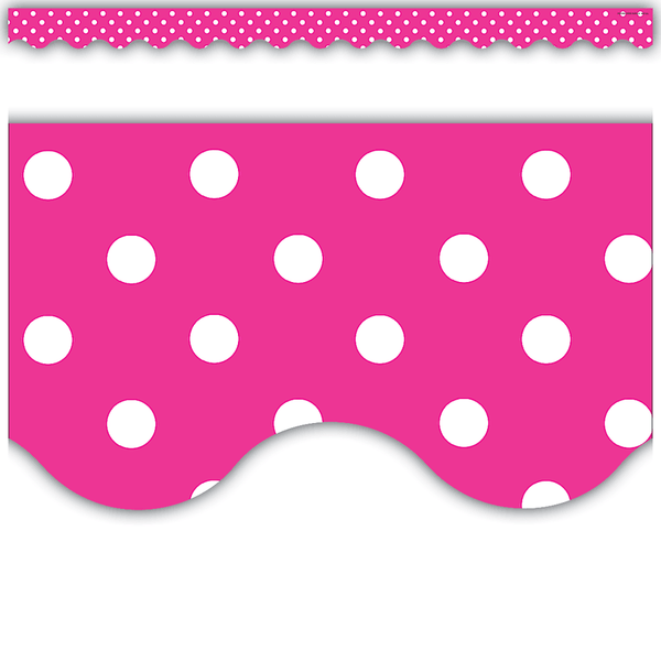 Hot Pink Polka Dots Scalloped Classroom Display Border:Primary Classroom Resources