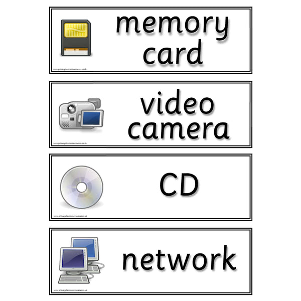 ICT Vocabulary Flashcards:Primary Classroom Resources