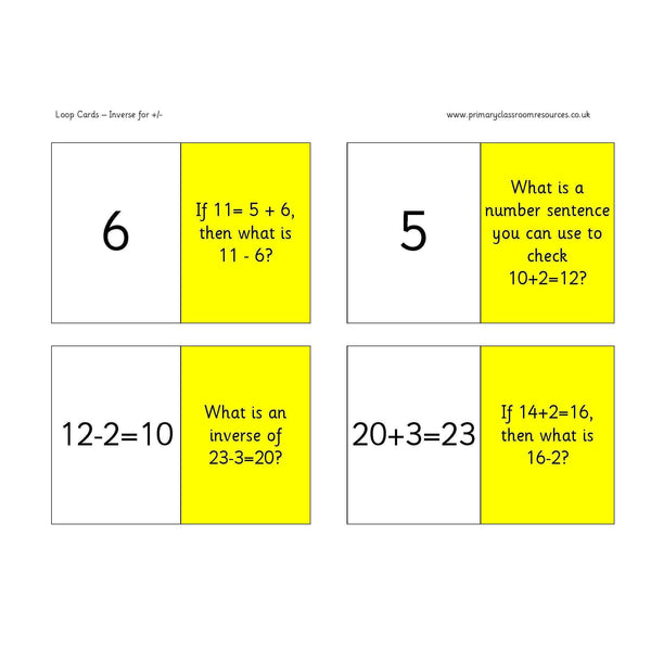 Inverse Addition and Subtraction Loop Cards