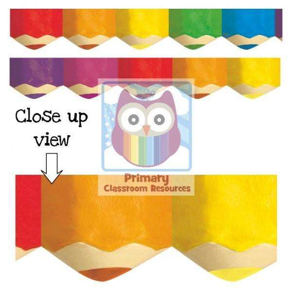 Jumbo Coloured Pencil Display Border:Primary Classroom Resources