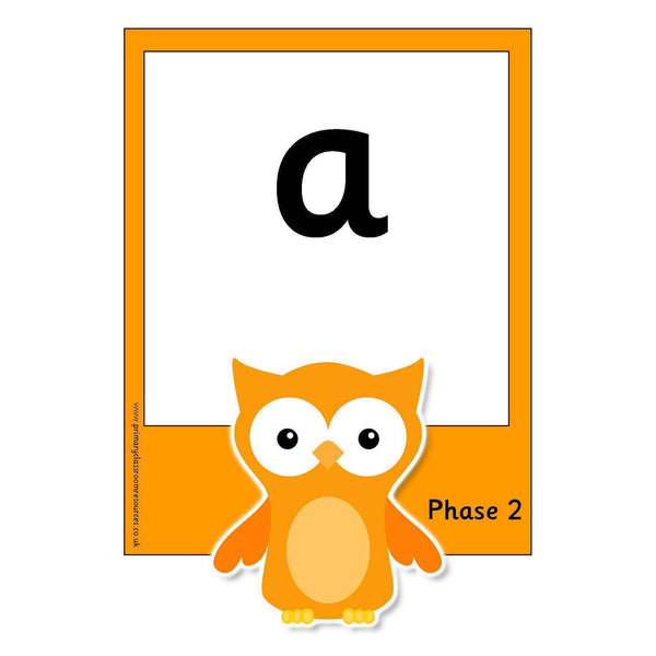 Large Owl Phase 2 Letters and Sounds Flashcards
