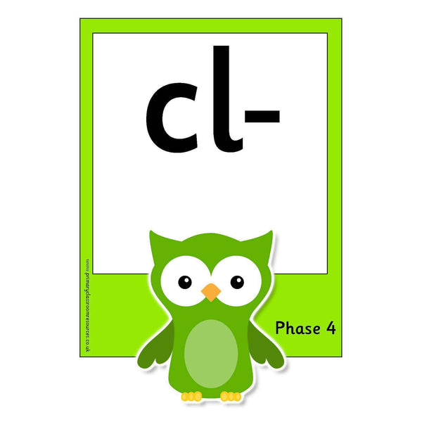 Large Owl Phase 4 Letters and Sounds Flashcards