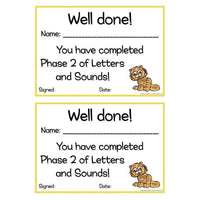Letters and Sounds Certificates Phase 2:Primary Classroom Resources