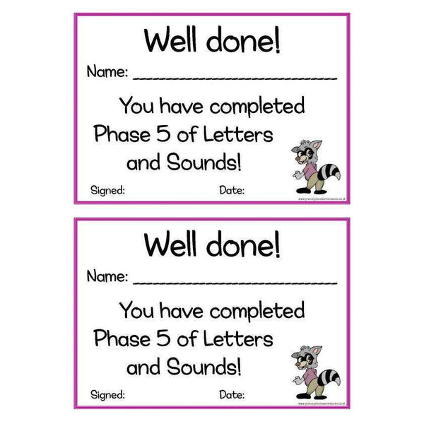 Letters and Sounds Certificates Phase 5:Primary Classroom Resources