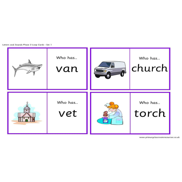 Letters and Sounds Phase 3 Loop Cards - Set 1:Primary Classroom Resources