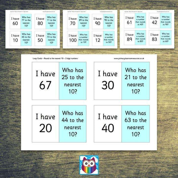 Loop Cards - Rounding to the nearest 10 (2 digit numbers)