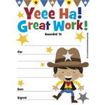 Mini Certificates Pad - Cowboy - Yeee Ha! Great Work:Primary Classroom Resources