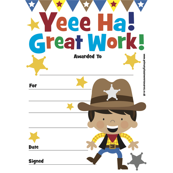 Mini Certificates Pad - Cowboy - Yeee Ha! Great Work