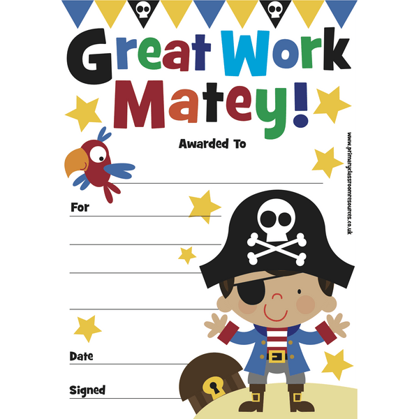 Mini Certificates Pad - Pirate -Great Work Matey!:Primary Classroom Resources