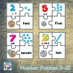 Number Puzzles 0 to 10:Primary Classroom Resources