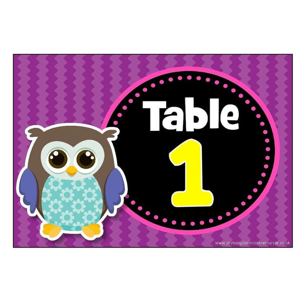 Numbered Table Signs - Owl Theme