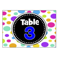 Numbered Table Signs - Polka Dot Theme:Primary Classroom Resources