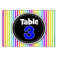 Numbered Table Signs - Striped Theme