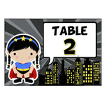 Numbered Table Signs - Superheroes Theme