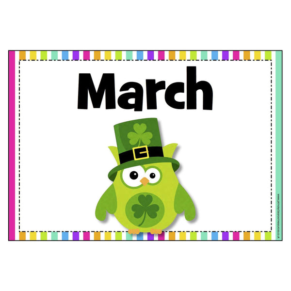 Owl Months of the Year Posters:Primary Classroom Resources