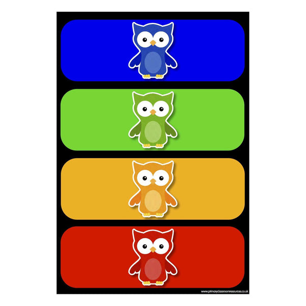 Owl Themed Classroom Voice Manager Poster Set