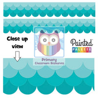 Painted Palette Ombre Turquoise Scallops Display Border