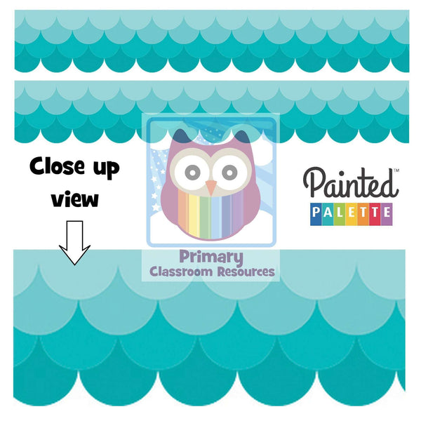 Painted Palette Ombre Turquoise Scallops Display Border:Primary Classroom Resources
