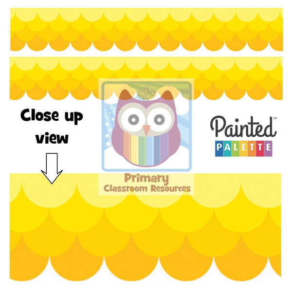 Painted Palette Ombre Yellow Scallops Display Border