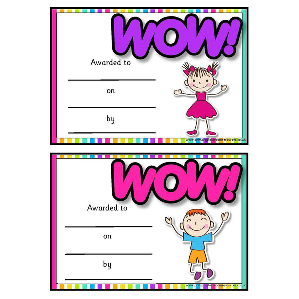 Rainbow Wow Certificates
