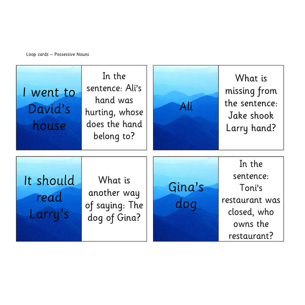 Possessive Nouns Loop Cards