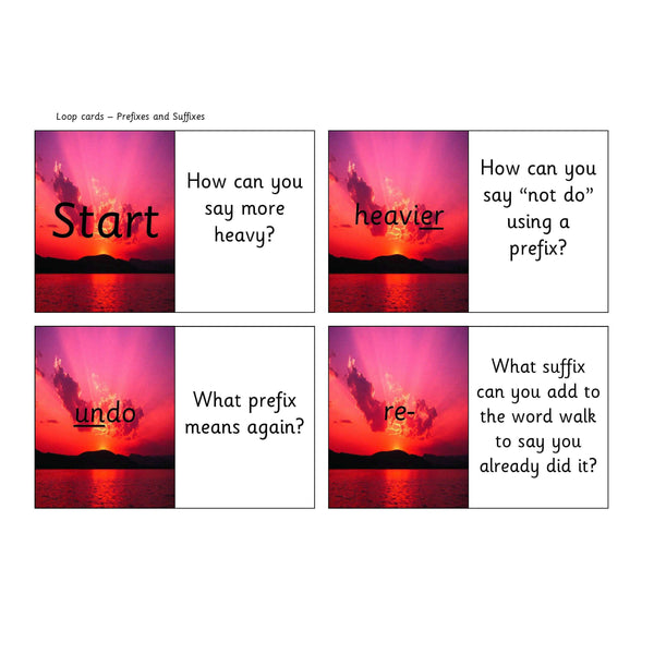 Prefixes and Suffixes Loop Cards:Primary Classroom Resources