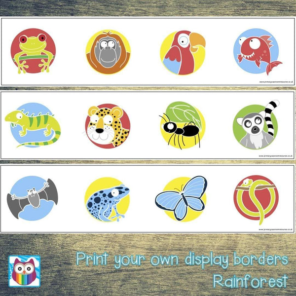 Print Your Own Rainforest Animals Display Borders:Primary Classroom Resources