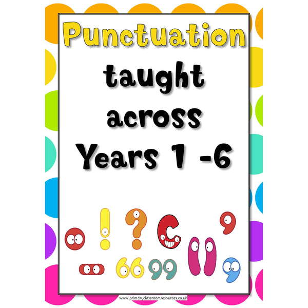 Punctuation Across the Years Posters:Primary Classroom Resources