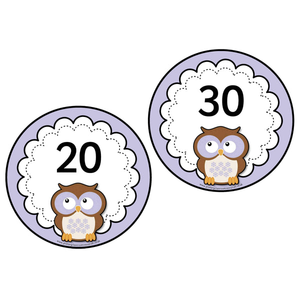 Purple Owl Numbers 0-20 plus 10s to 100