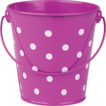Purple Polka Dots Metal Bucket:Primary Classroom Resources
