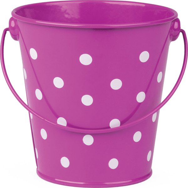 Purple Polka Dots Metal Bucket