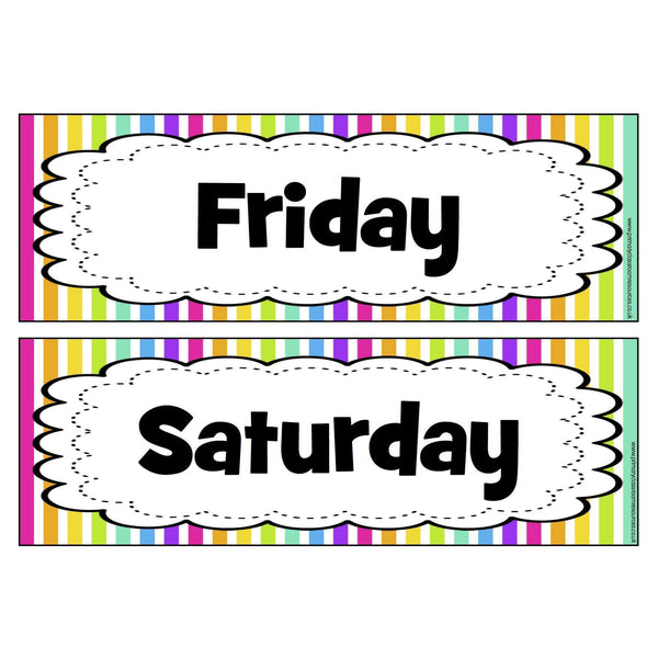 Rainbow Stripe Days of the Week Headers -  Frilly Frame:Primary Classroom Resources