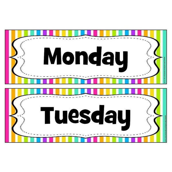 Rainbow Stripe Days of the Week Headers:Primary Classroom Resources