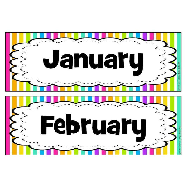 Rainbow Stripe Months of the Year Headers - Frilly Frame:Primary Classroom Resources