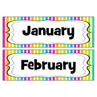 Rainbow Stripe Months of the Year Headers