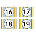 Rainbow Stripe Number Cards 0 - 20