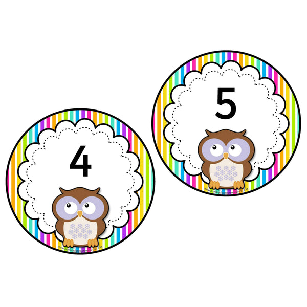 Rainbow Stripe Owl Numbers 0-20 plus 10s to 100