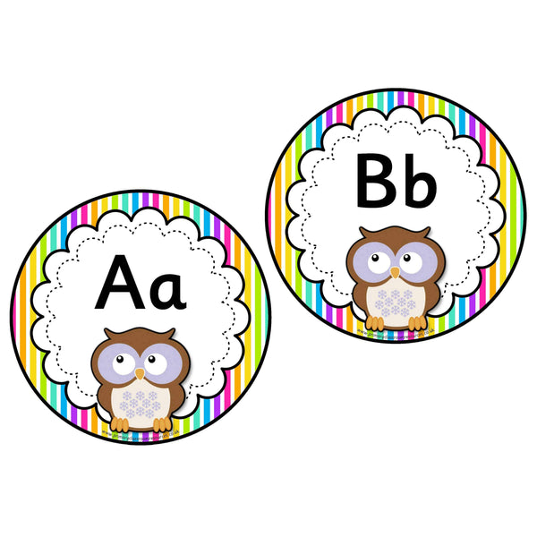 Rainbow Stripe Owl Word Wall Headers
