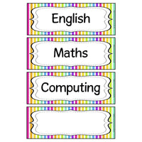 Rainbow Stripe Subject Timetable Cards - Extra cards