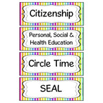 Rainbow Stripe Subject Timetable Cards