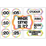 Rainbow Theme Clock Labels:Primary Classroom Resources