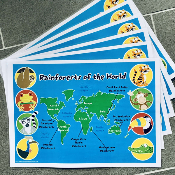 Rainforests of the World Map Pack:Primary Classroom Resources