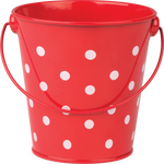Red Polka Dots Metal Bucket:Primary Classroom Resources