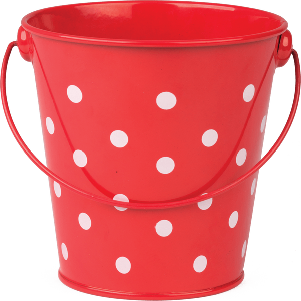 Red Polka Dots Metal Bucket