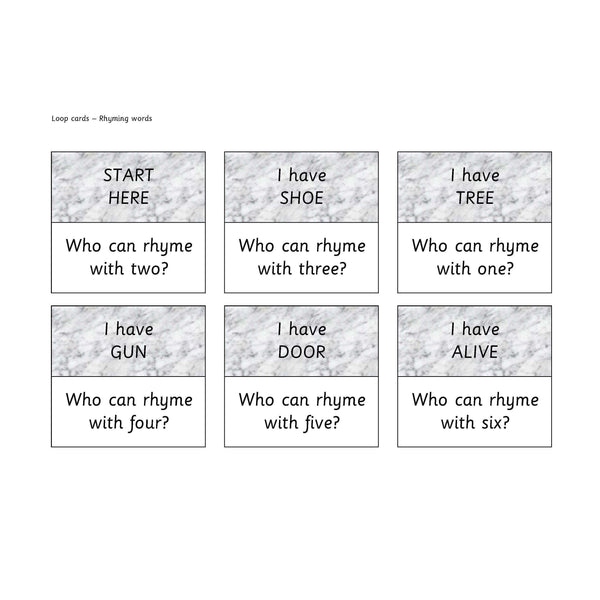 Rhyming Words Loop Cards:Primary Classroom Resources