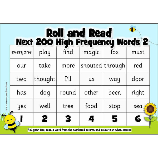 Roll and Read - Letters and Sounds Next 200 High Frequency Words