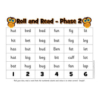Roll and Read -  Letters and Sounds Phase 2 Words:Primary Classroom Resources