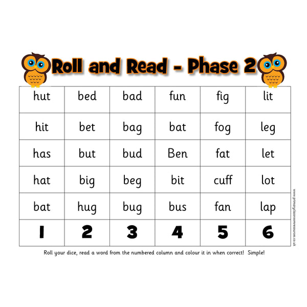 Roll and Read -  Letters and Sounds Phase 2 Words